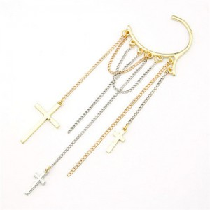 Cross Tassels Fashion Unilateral Earring
