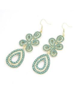 Bohemian Leaf Clover Earrings - Light Blue