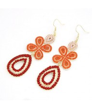 Bohemian Leaf Clover Earrings - Orange