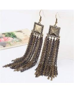 Vintage Metallic Square Fashion Tassels Earrings