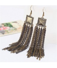 Vintage Metallic Square Fashion Tassels Earrings