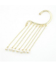 Stunning Golden Design Pearls Dangling Unilateral Earring