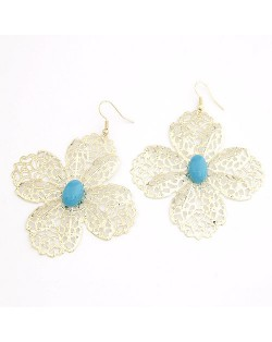 Sweet Hollow-out Clover with Blue Gem Centered Korean Fashion Earrings