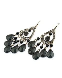 Black Bohemian Dripping Style Earrings