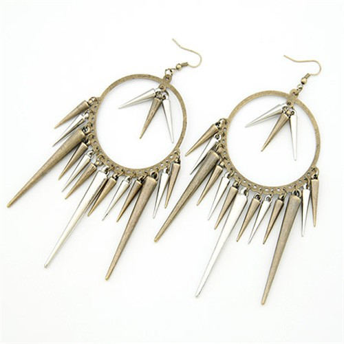Dangling Rivets Punk Style Hoop Earrings