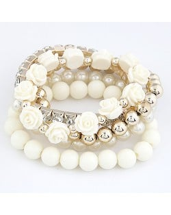 Flowers and Ball Beads Mixed Style Bracelet - White