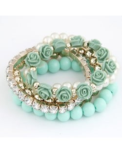 Flowers and Ball Beads Mixed Style Bracelet - Green
