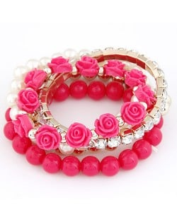 Flowers and Ball Beads Mixed Style Bracelet - Rose