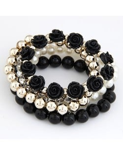 Flowers and Ball Beads Mixed Style Bracelet - Black