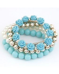 Flowers and Ball Beads Mixed Style Bracelet - Blue