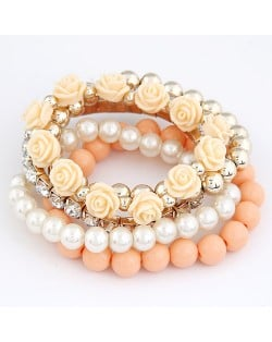 Flowers and Ball Beads Mixed Style Bracelet - Beige