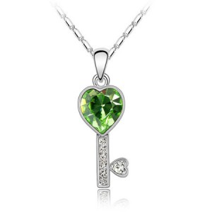 Austrian Crystal Love Key Pendant Necklace - Green