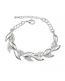 Osmanthus Twig Design Austrian Crystal Bracelet - Multicolor