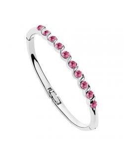 Rose Austrian Crystal Spiral Inlaid Bracelet