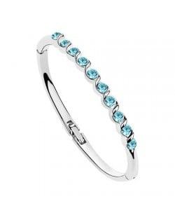 Aquamarine Austrian Crystal Spiral Inlaid Bracelet