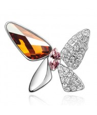 Gorgeous Butterfly Dream Austrian Crystal Alloy Platinum Plating Brooch - Copper