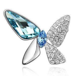 Gorgeous Butterfly Dream Austrian Crystal Alloy Platinum Plating Brooch - Blue
