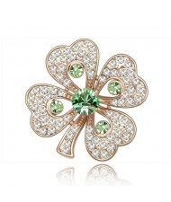 Luxurious Classic Clover Design Golden Brooch - Olive