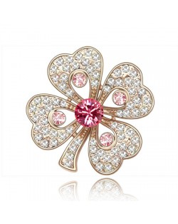 Luxurious Classic Clover Design Golden Brooch - Pink