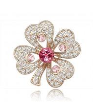 Luxurious Classic Clover Design Golden Brooch - Pink