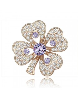 Luxurious Classic Clover Design Golden Brooch - Violet