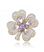 Luxurious Classic Clover Design Golden Brooch - Violet