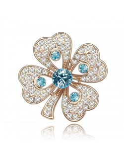 Luxurious Classic Clover Design Golden Brooch - Aquamarine