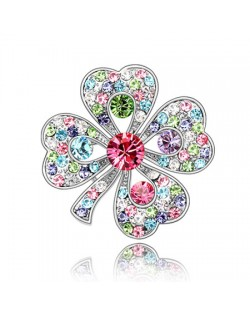 Luxurious Classic Clover Design Platinum Brooch - Multicolor