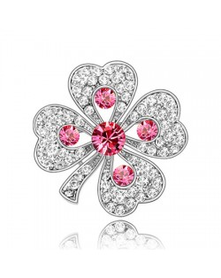 Luxurious Classic Clover Design Platinum Brooch - Pink