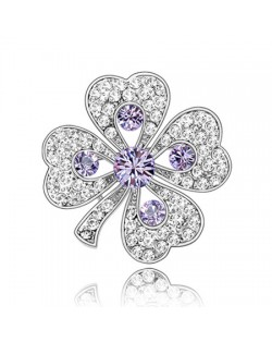 Luxurious Classic Clover Design Platinum Brooch - Violet