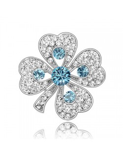 Luxurious Classic Clover Design Platinum Brooch - Aquamarine