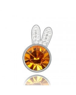 Cute Rabbit Head Austrian Crystal Brooch - Yellow