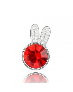 Cute Rabbit Head Austrian Crystal Brooch - Red