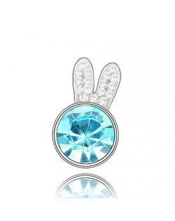 Cute Rabbit Head Austrian Crystal Brooch - Aquamarine