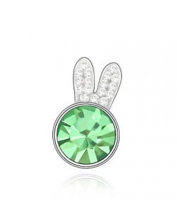 Cute Rabbit Head Austrian Crystal Brooch - Green