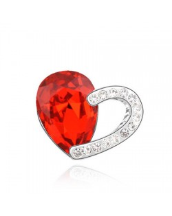 Mingled Heart Design Austrian Crystal Brooch - Red