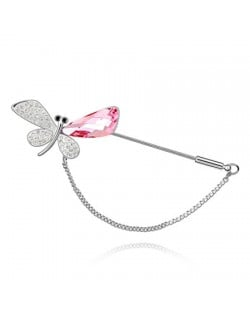 Exquisite Dragonfly Austrian Crystal Brooch - Pink