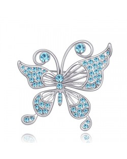 Gorgeous Classical Butterfly Austrian Crystal Brooch - Blue
