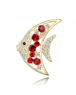 Golden Tropical Fish Austrian Crystal Brooch - Red