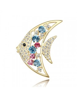 Golden Tropical Fish Austrian Crystal Brooch - Colorful
