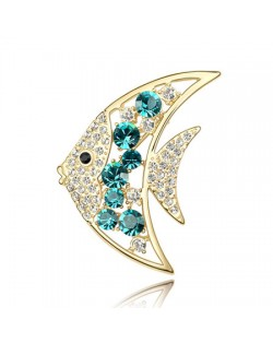 Golden Tropical Fish Austrian Crystal Brooch - Aquamarine