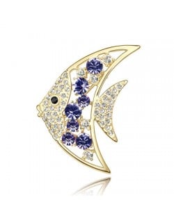 Golden Tropical Fish Austrian Crystal Brooch - Grape
