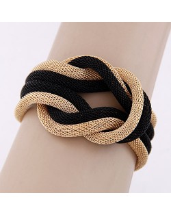 Dough Twist Weaving Design Bracelet - Black