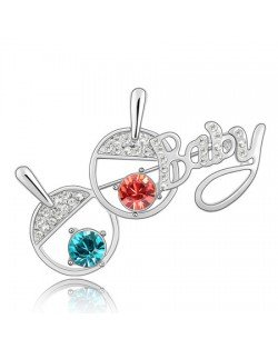 Table Tennis Rackets Brooch - Aquamarine With Red