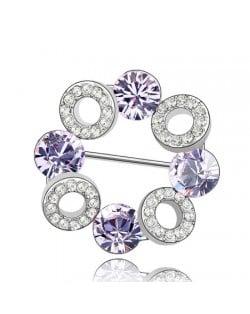 Romantic Forever Love Circle Austrian Crystal Brooch - Violet