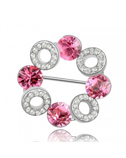 Romantic Forever Love Circle Austrian Crystal Brooch - Rose