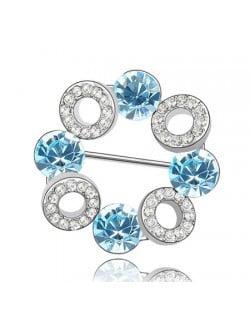 Romantic Forever Love Circle Austrian Crystal Brooch - Blue