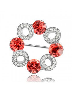 Romantic Forever Love Circle Austrian Crystal Brooch - Red