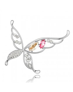 Hyperbolic Butterfly Austrian Crystal Brooch - Champagne With Rose