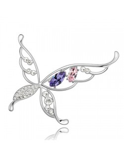 Hyperbolic Butterfly Austrian Crystal Brooch - Purple With Pink